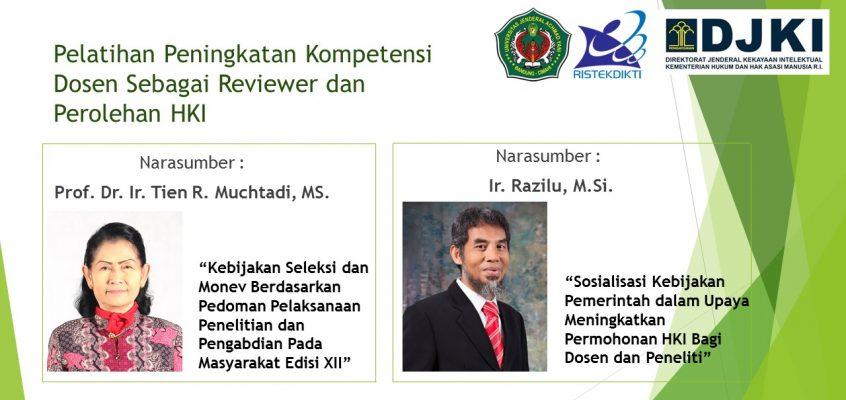 Pelatihan Peningkatan Kompetensi Dosen Sebagai Reviewer dan Perolehan HKI